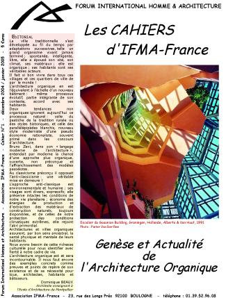 Cahier n°1 de la revue d'IFMA-France
